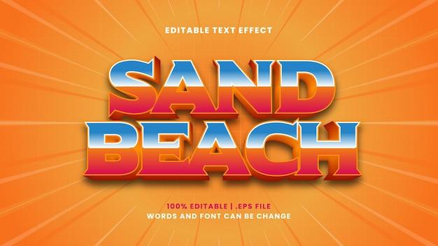 Effet de texte modifiable de plage de sable dans un style 3d moderne