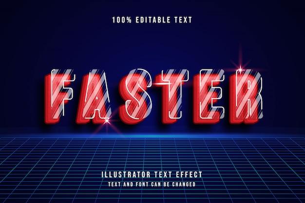 Effet de texte modifiable plus rapide, style de ligne d'ombre moderne rouge 3d
