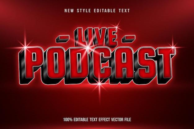 Effet de texte modifiable de podcast en direct style néon élégant