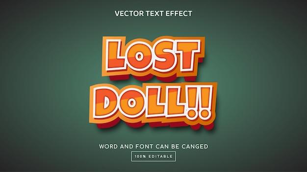 Effet de texte modifiable de poupée perdue