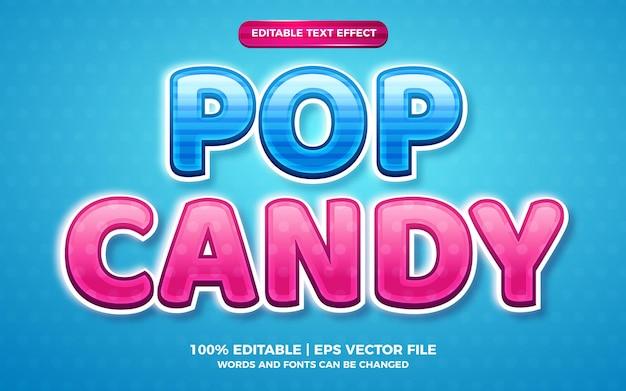 Effet de texte modifiable pour enfants pop candy 3d
