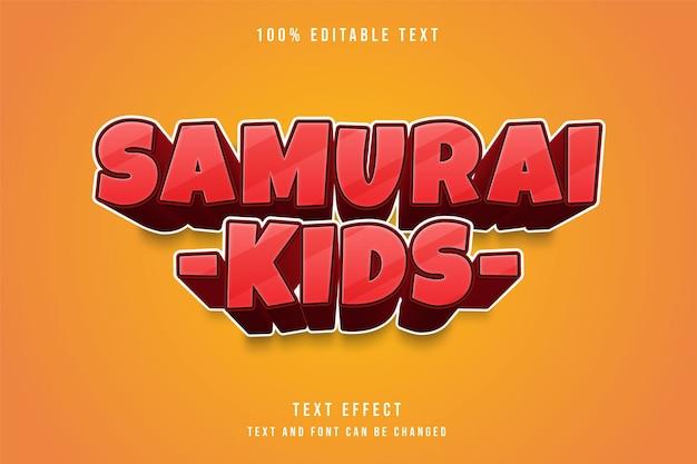 Effet de texte modifiable pour les enfants samouraïs