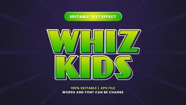 Effet de texte modifiable pour enfants whiz dans un style 3d moderne