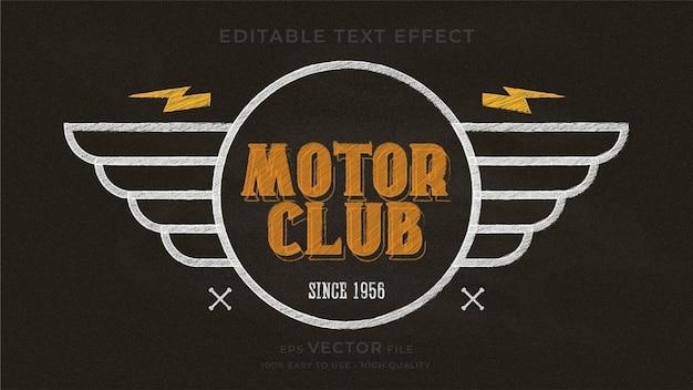 Effet de texte modifiable premium de tableau de typographie de moto