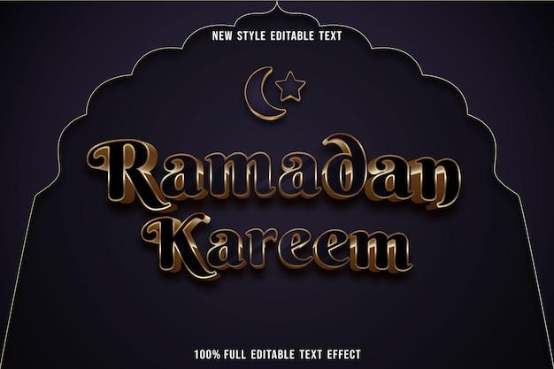 Effet de texte modifiable ramadan kareem couleur bleu marine et or