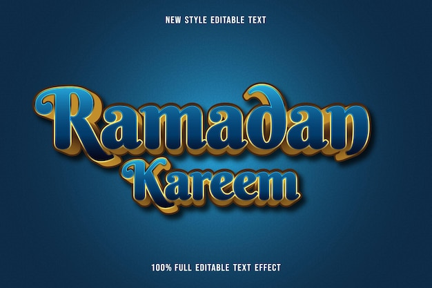 Effet de texte modifiable ramadan kareem couleur bleu et or