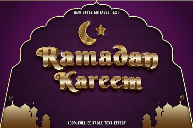 Effet de texte modifiable ramadan kareem couleur or