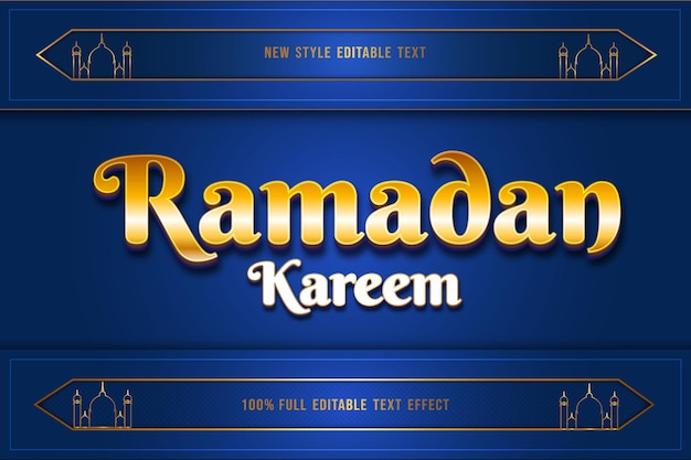 Effet de texte modifiable ramadan mubarak couleur or