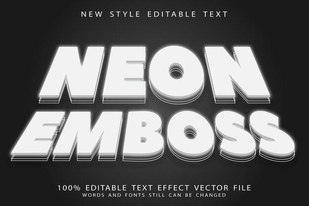 Effet de texte modifiable en relief néon style néon en relief