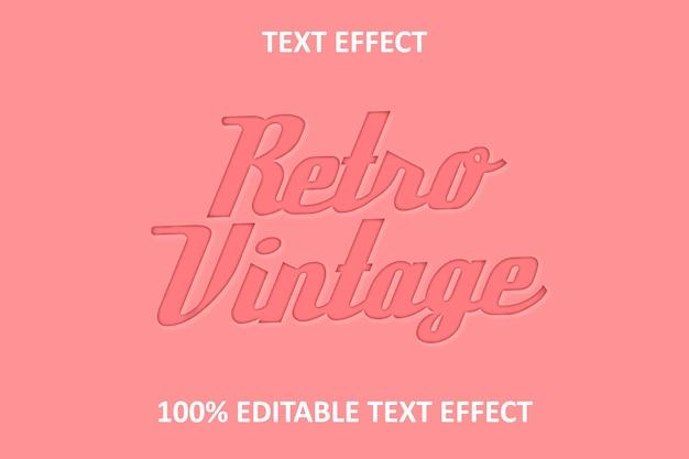 Effet de texte modifiable rétro vintage rouge rose