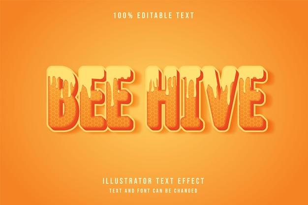 Effet de texte modifiable de ruche d'abeille avec dégradé jaune