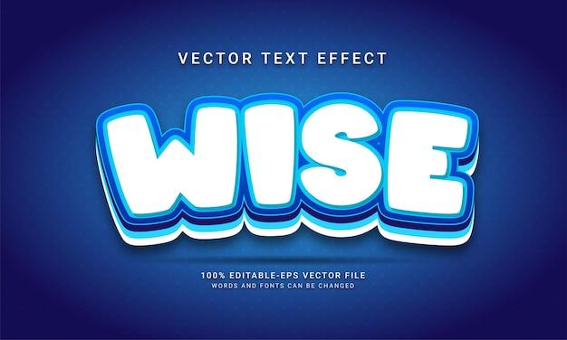 Effet de texte modifiable sage avec thème de couleur bleue