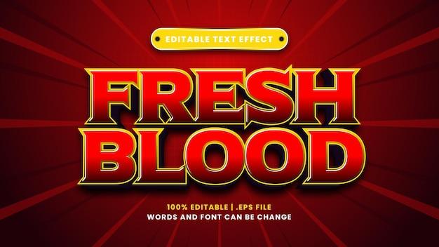 Effet de texte modifiable de sang frais dans un style 3d moderne