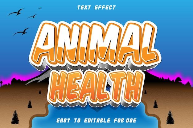 Effet de texte modifiable de santé animale en relief dans un style moderne