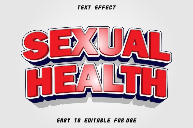 Effet de texte modifiable sur la santé sexuelle en relief dans le style moderne