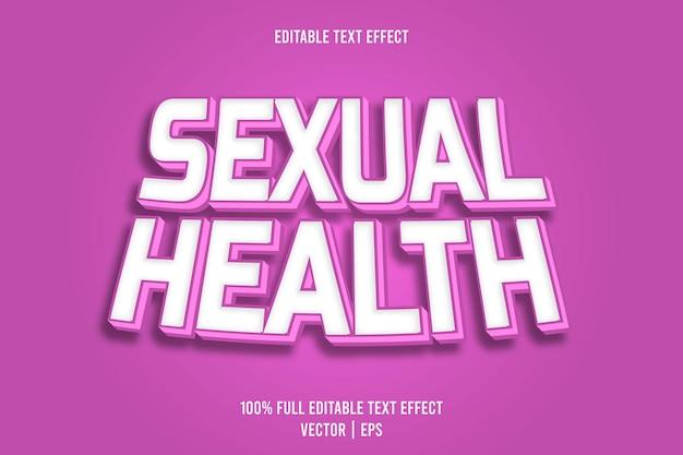 Effet de texte modifiable sur la santé sexuelle, style de dessin animé en relief en 3 dimensions