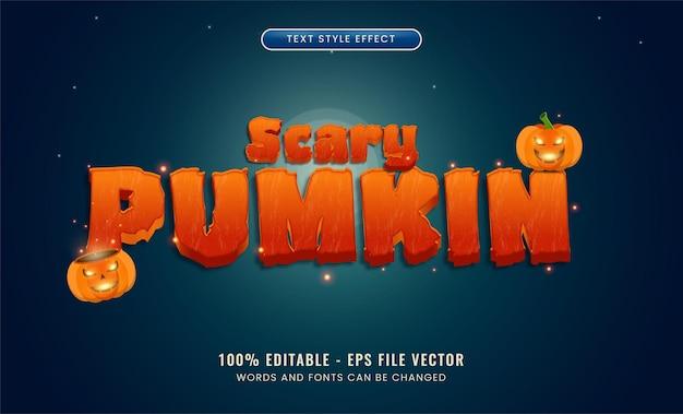 Effet de texte modifiable scary pumpkin vecteur premium