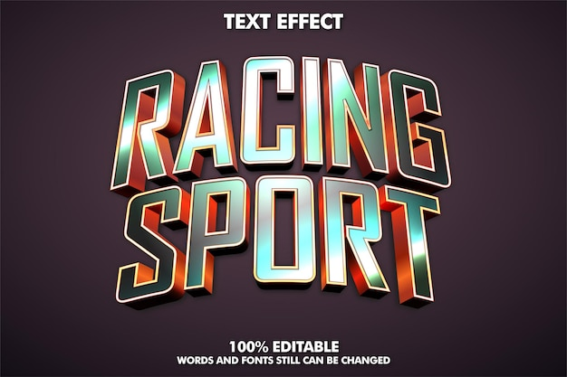 Effet de texte modifiable de sport de course effet de texte métallique brillant