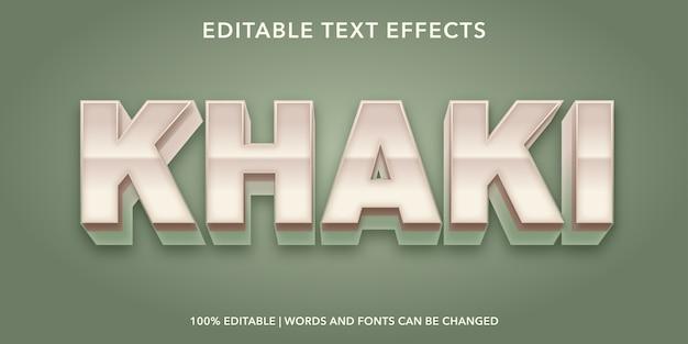 Effet de texte modifiable de style 3d kaki