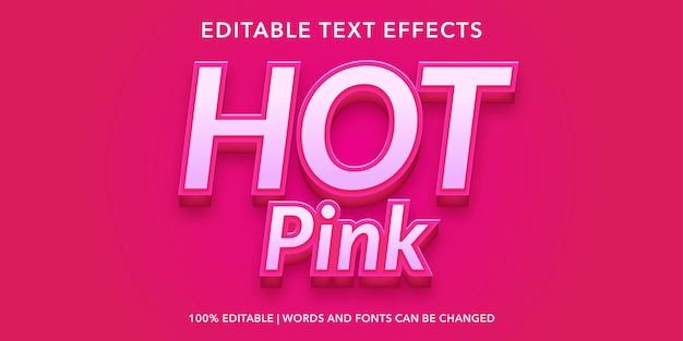 Effet de texte modifiable de style 3d rose chaud