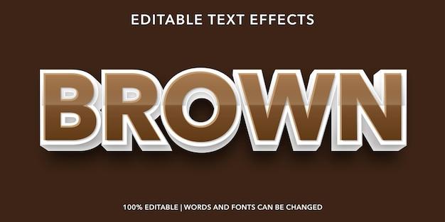 Effet de texte modifiable de style 3d de texte brun