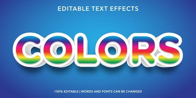 Effet de texte modifiable de style 3d de texte coloré