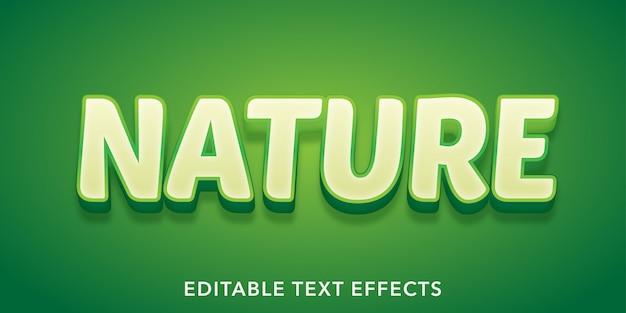 Effet de texte modifiable de style 3d de texte de nature