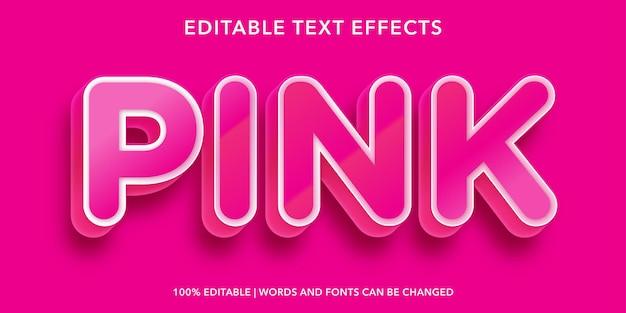Effet de texte modifiable de style 3d de texte rose