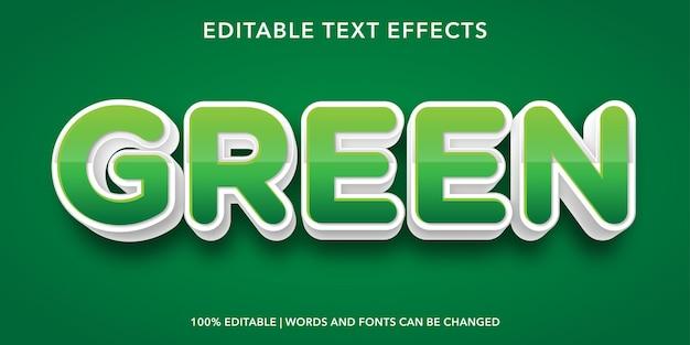Effet de texte modifiable de style 3d de texte vert