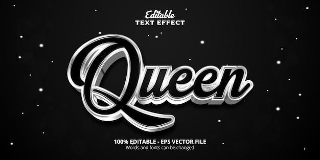 Effet de texte modifiable de style argenté, texte de la reine