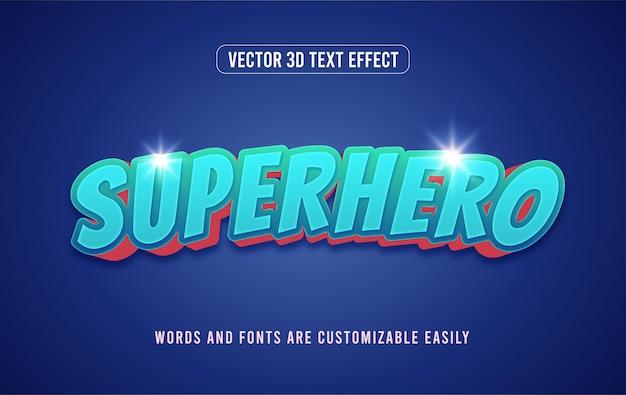 Effet de texte modifiable de style bande dessinée de super-héros d'action bleue