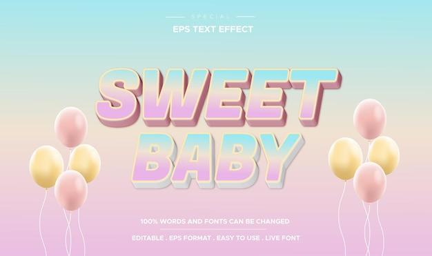 Effet de texte modifiable style bébé doux