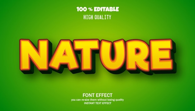 Effet de texte modifiable de style cartoon nature