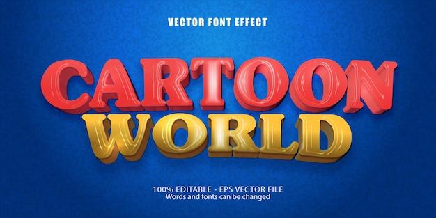Effet de texte modifiable de style cartoon world cartoon