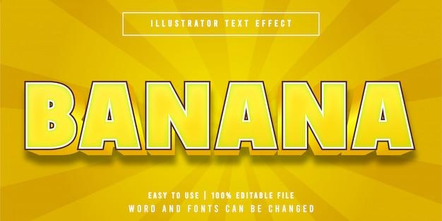 Effet de texte modifiable de style dessin animé fruité banane