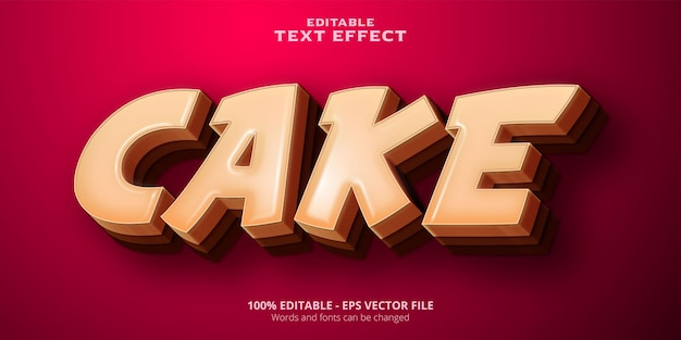 Effet de texte modifiable de style dessin animé de gâteau