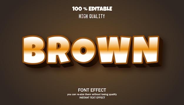 Effet de texte modifiable de style dessin animé marron