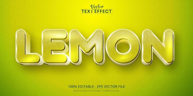 Effet de texte modifiable de style dessin animé de texte citron