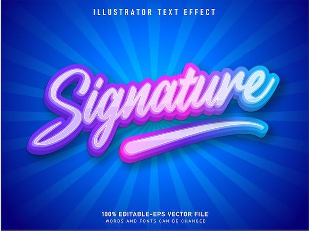 Effet de texte modifiable de style dessin animé de texte de signature