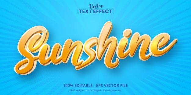 Effet de texte modifiable de style dessin animé texte soleil