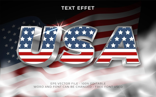 Effet de texte modifiable de style d'effet de texte 3d usa