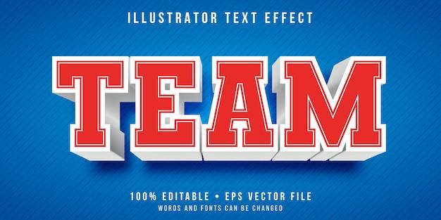 Effet de texte modifiable - style d'équipe universitaire
