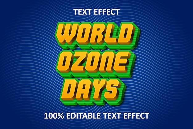 Effet de texte modifiable de style gaufré fantaisie journée mondiale de l'ozone