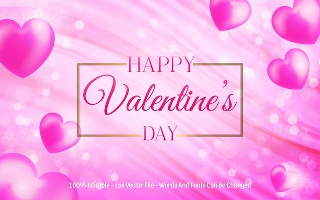 Effet de texte modifiable, style happy valentine avec amour ballon