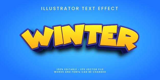 Effet de texte modifiable de style hiver premium