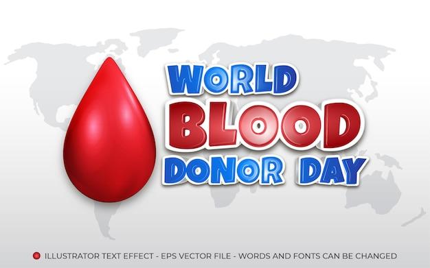 Effet de texte modifiable, style journée mondiale du don de sang