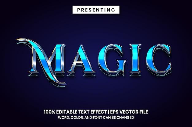 Effet de texte modifiable - style métallique bleu magique