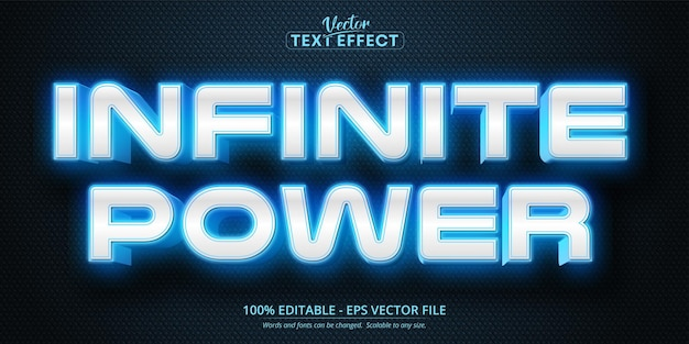 Effet de texte modifiable de style néon de puissance infinie