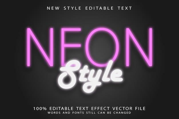 Effet de texte modifiable de style néon en relief style néon