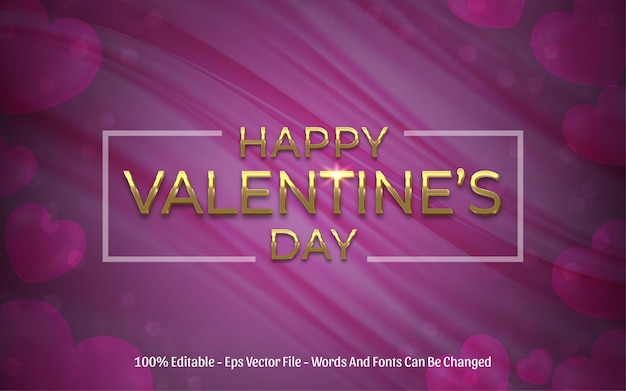 Effet de texte modifiable, style or happy valentine's day
